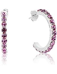 67291fcb428c DTPsilver – Pendientes para mujer Demi aro de plata fina 925 con cristales  de Swarovski Elements