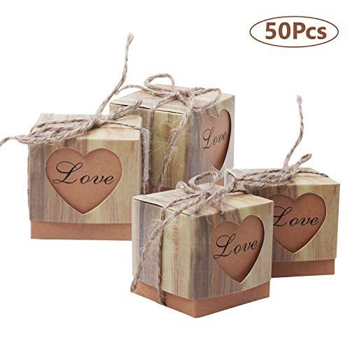 Hochzeit Gastgeschenke (50 Stück) - Love Herz rustikale Stil Schachtel Geschenkbox mit Schnur - Süßigkeiten Kartons Bonboniere Kasten - Für Geburtstag, Baby Party und Brautdusche Dekoration