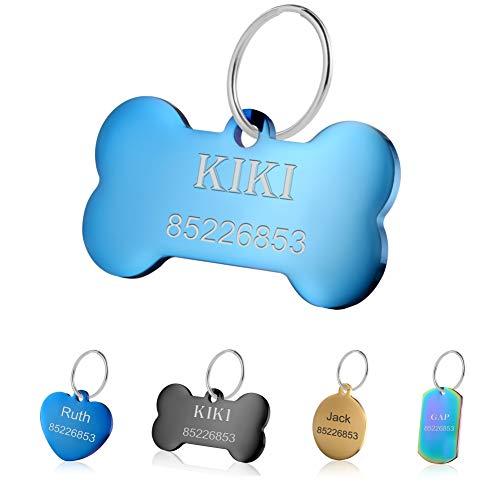 KSZ Etiquetas de identificación para Mascotas de Acero Inoxidable, Etiquetas Personalizadas para Perros y Gatos. Grabado Frontal y Trasero. Múltiples Colores (Dorado, Hueso)