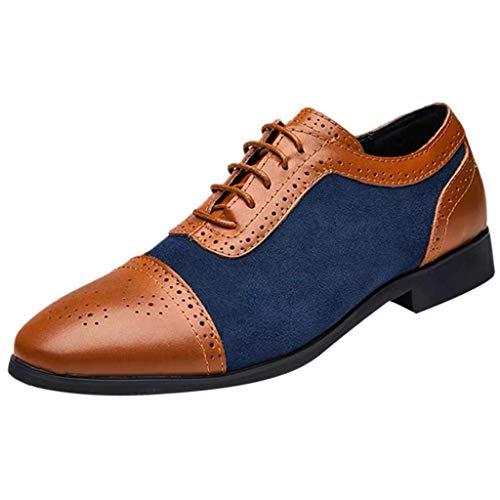 CixNy Herren Anzugschuhe Oxford, Lederschuhe Derby Business Casual Britischer Stil Hochzeit Schnürhalbschuhe Schwarz Blau Gelb 38-48 (Blau, 47) (Kostüm Ringe Mit Stretch Bands)
