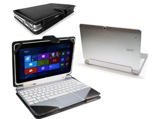 Navitech Custodia Nera in pelle Bycast Stile Libro omologato per tastiera per Acer Iconia W5 Windows 8 Tablet e Acer ICONIA W510P