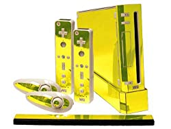 Nintendo Wii Skin New Yellow Chrome Mirror System Skins Faceplate Decal Mod