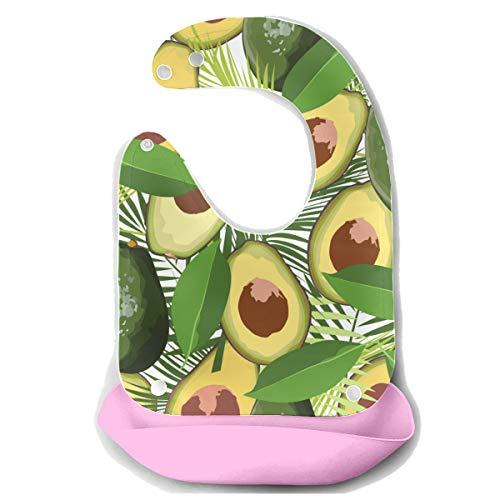Baby Fütterung Lätzchen wasserdicht Avocado nahtlose Muster mit tropischen Blättern von P abnehmbare Silikon Fütterung Schürze Maus Handtuch Baby Fütterung Dribbeln Sabber Lätzchen Infant Lätzchen Ki -