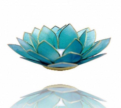 Lotus portavelas conchas de placuna borde Oro–Aquamarin–Azul