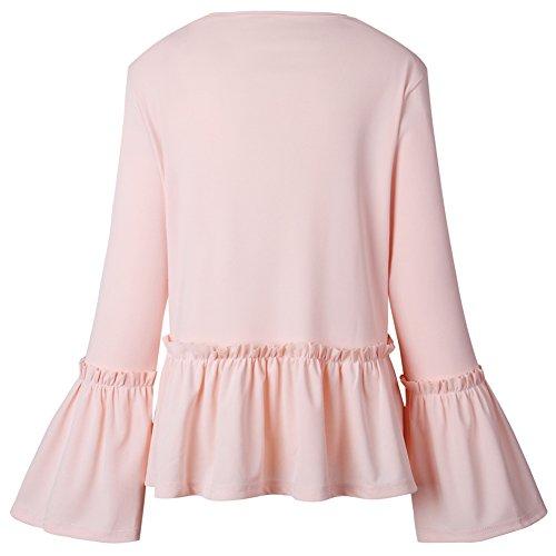 Issza Damen Casual Rüschen 3/4 Arm Blazer Elegante Kurz Jacke Outerwear Strickjacken Rosa
