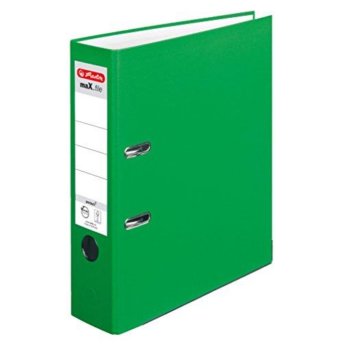 Herlitz 11416294 Ordner maX.file protect A4, 8 cm mit Einsteckrückenschild, 5er-Packung, FSC Mix, hellgrün