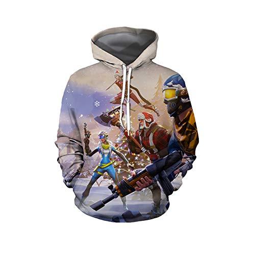 L&Z MäNner Pullover Weihnachten Hoodie, Fortress Night Hoodie 3D Digitaldruck Kapuzen GroßE...