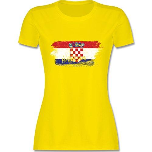 Fußball-Weltmeisterschaft 2018 - Kroatien Vintage - M - Lemon Gelb - L191 - Damen T-Shirt Rundhals (Flagge 18)