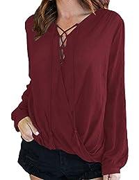 Lukis Damen Herbst Blusen V Ausschnitt mit Lace Up Casual Langarmshirt Oberteil