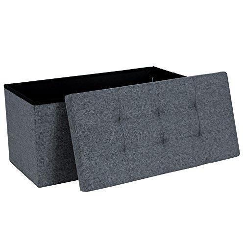 Songmics LSF47K Faltbarer Sitzhocker belastbar bis 300 kg Fußbank Sitzbank Aufbewahrungsbox leinen dunkelgrau 76 x 38 x 38 cm