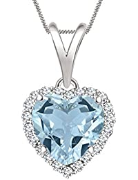 "Silvernshine 7mm Aquamarine & Sim Diamond Halo Heart Pendant 18"" Chain In 14K White Gold Fn"