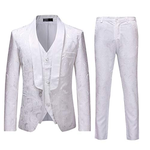 81284137903f FRAUIT Abito Uomo Elegante Completo Slim Fit 3 Pezzi Blazer Uomini Floreale  + Pa