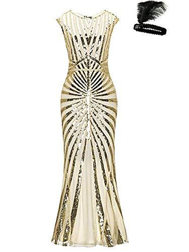 1920s Kleid Damen Maxi Lang Vintage Abendkleid Gatsby Motto Party 20er Jahre Flapper Kleid Damen Kostüm Kleid (beige/Gold, L)