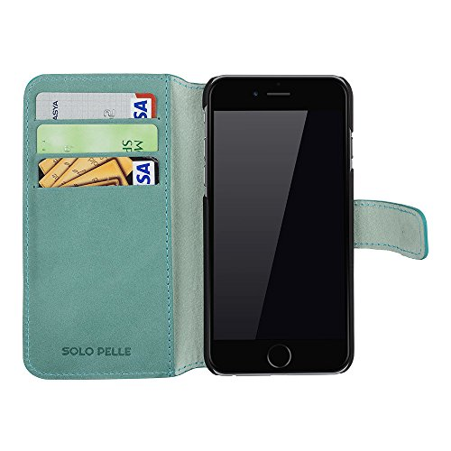 """Solo Pelle Iphone 6 / 6S (4.7 Zoll) """"Wallet"""" Ledertasche mit Aufstellfunktion & Kartenfächern, Cognac Braun Vintage Pastelgrün"""