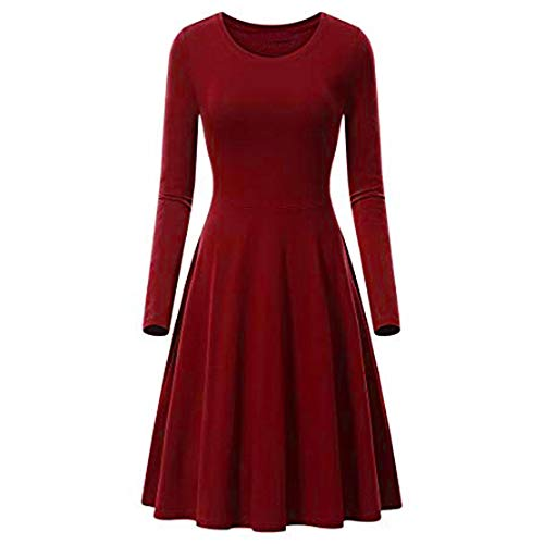 Linkay Ladies Women Dresses O-Neck Pure Color Print Top A-line Cotton Min Long Sleeve Vintage
