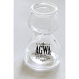 AGWA COCA LEAF BRANDED GLASS QUAFFER DOUBLE BUBBLE CHASER SHOT GLASS