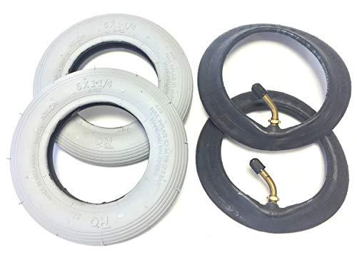 Lot de 2 pneus pour fauteuil roulant 6 x 1 1/4, également 150 x 30, gris, + 2 tuyaux avec valve d'angle en direction 90°/45°, pneus avec profil rainuré, pression d'air 36 PSI, compatible avec fauteuil roulant manuel de qualité supérieure