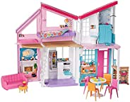 Barbie Malibu House 2-Story Dollhouse with Transformation Features and 25+ Pieces FXG57