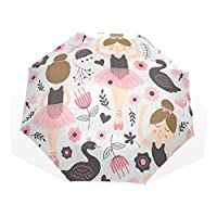 Trushop Cute Ballerina Girl Windproof Travel Umbrella Compact Folding Umbrella