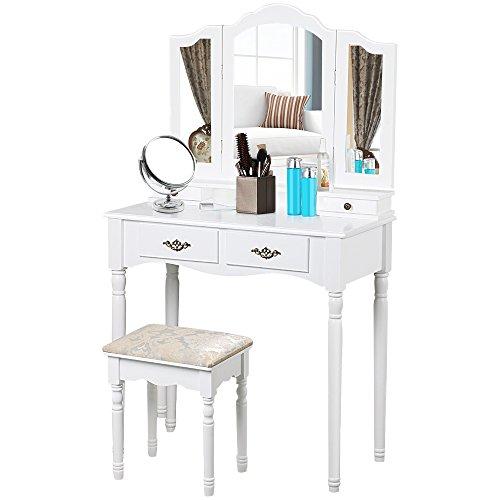 Popamazing Shabby Chic Spiegel Schminktisch Hocker Schlafzimmer Make-up Spiegel Schubladen Sitz Dresser Set weiß (Antike Französische Kommode)