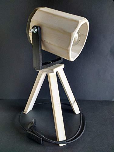 Lámpara blanca foco de cine Vintage, con Trípode de madera reciclada de palet hecha a mano.