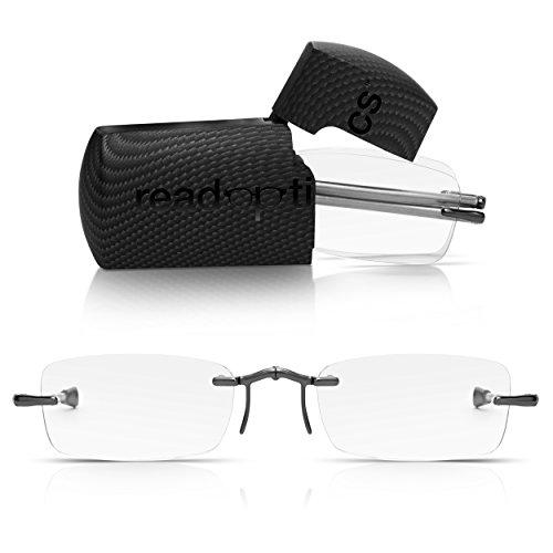 Read Optics faltbare Brille: Randlose Lesehilfe in Stärke 1,5 Dioptrien für Herren/Damen. Mit Hartschalen-Etui, flexiblen Metall-Bügeln und Federscharnier. Hochwertige Gläser, ideal für Reisen
