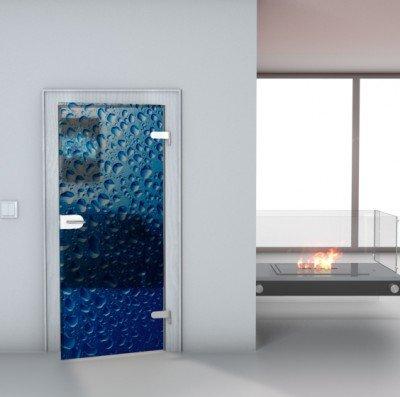 """Glastürfolie Transparent selbstklebend """"Wasser"""" Türfolie Glastür Folie Poster Türtapete Tapete Fototapete Türposter 85cm x 200cm"""