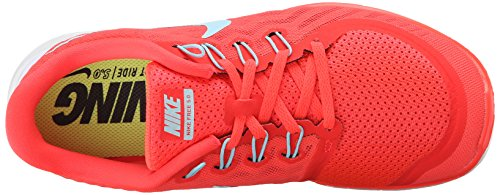 Nike  Free 5.0, Running femme - Gris - Grau (Pr Platinum/Blk-Wlf Gry-Cl Gry 003), 35.5 Rouge (Brght Crimson/Cp-Blk-Hypr Orng 601)