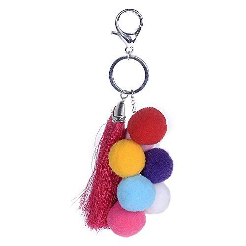 Lureme Retro Bunte Ball Charme Troddel PomPom Anhänger Auto Telefon Schlüsselbund Handtasche Schlüsselanhänger (kc000056)