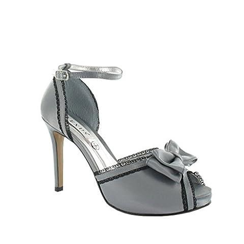 Lexus A006 Linda High Heel platform sandal with plain bow on front of shoe(6, Grey)