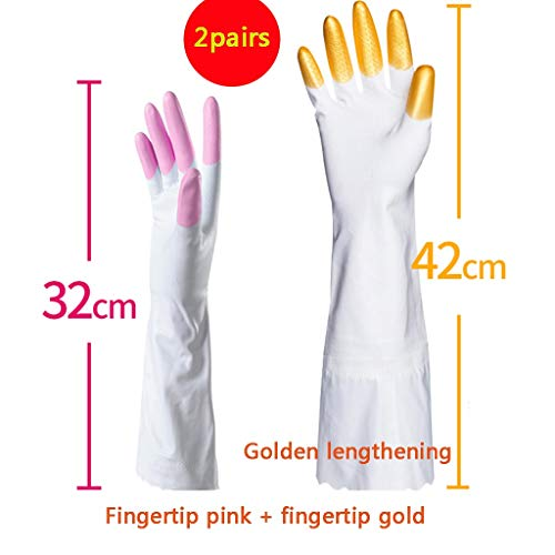 LLKOZZ Hausarbeitshandschuhe Spülhandschuhe wasserdichte Gummihandschuhe Langlebig Multi-Color und Multi-Size optional X2 Handschuhe (Color : Gold lengthening, Size : S)