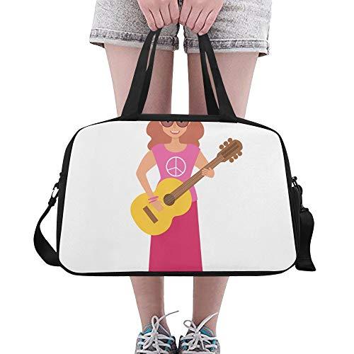 Musik Mann mit aktiver Gitarre große Turnhalle Totes Eignung Handtaschen Reise Seesäcke mit Schultergurt Schuhbeutel für Übung Gepäck für Mädchen der Frauen der Frauen im Freien (Für Musik Kinder 1960er-jahren)