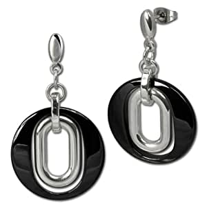 Amello earring ceramic magic black - length 1.8 inches- Woman earrings - Stainless Steel earring ESOX03S