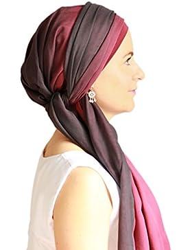 Alegre pañuelo Fusion negro y rojo para la cabeza con gorro interior antideslizante.