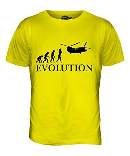 CandyMix Hubschrauber Chinook Evolution Des Menschen Herren T Shirt Zitronengelb