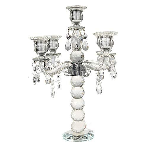 Retro-Kristall 5-Arm-Leuchten Kandelaber Säule Kerze Halter Herzstück Kerze Party Home Decor -