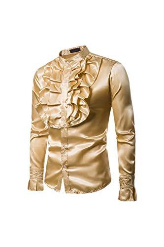 Dazosue Uomini Vestiti Decorativo Prima Pulsante Mostra Camicetta sopra  Golden M 309db874f39