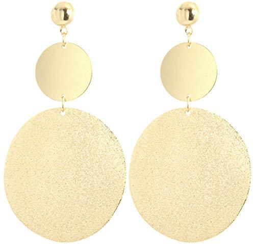 2LIVEfor Lange Ohrringe Silber Gold Tropfen Ohrringe lang Hängend Groß Blatt Ohrringe Blätter Tropfenform (Gold)