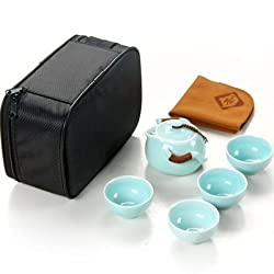 GENERIC B : 6pcs sets Outdoor travel tea set teapot teacup and saucer set glaze Car travel portable package Set office ceramic teapot
