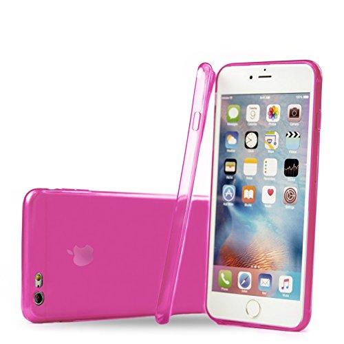Apple iPhone 6/6S + PLUS (5.5 Zoll)   iCues Colorado TPU Case Klar   Staubschutz durch Staubstecker Stöpsel mit Kamera Schutz Staubdicht Dust Proof Extra Leicht sehr Dünn Transparent Klarsichthülle Du Pink