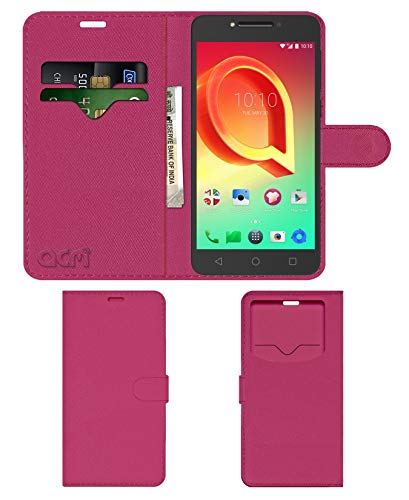 Acm Leather Window Flip Wallet Front & Back Case for Alcatel A5 Led Mobile Cover Pink
