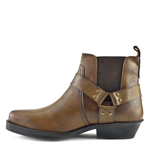 Herren Cowboy Ankle Boots Aus Leder Biker-Boots Aus Leder Toe - UK 10 / EU 44, Tan - 3 - Cowboy Western Stiefel