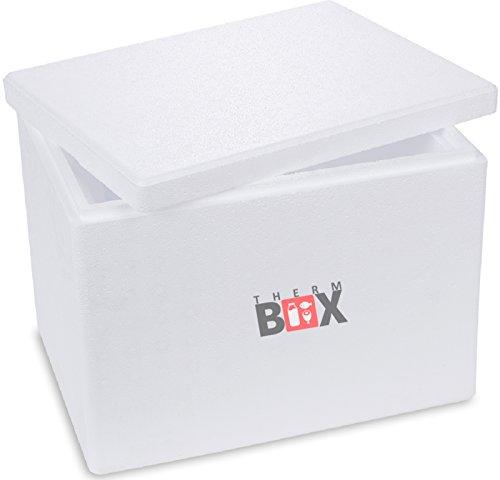 THERM BOX Styroporbox mit Deckel - Thermobox für Essen & Getränke - Styropor Kühlbox & Warmhaltebox (40x30x30cm - 19,58l Volumen)