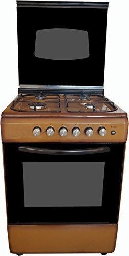 Cucina LAREL marrone 60x60 4 fuochi con forno a gas metano o GPL, grill elettrico e coperchio IN VETRO