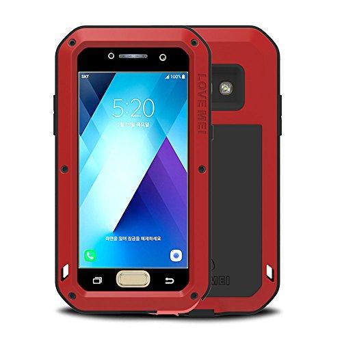 Galaxy A5 2017 Hülle, Love mei Mächtig Leistungsstarke Schwerlast Hybride Aluminium Metall Rüstung Stoßfest Schmutzabweisend Staubdicht Case für Samsung Galaxy A520 mit Hartglas (Weiß) Rot