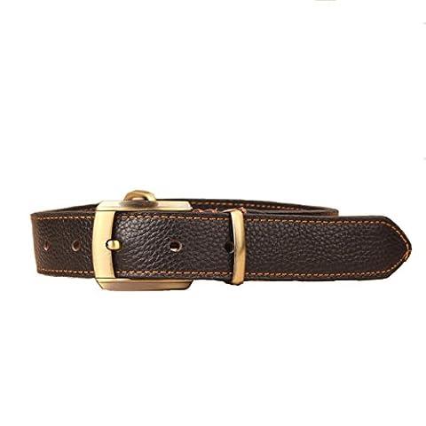 Surblue Cuir véritable Collier de chien Réglable et un poinçon Self Pet Collier de chien avec anneau en D Taille de cou 16.15–51cm