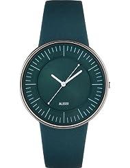 Alessi AL8018 - Reloj analógico de cuarzo unisex, correa de cuero color verde