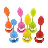 HelpCuisine® infusore per tè /filtro per tè, Infusore per te e tisane a forma di foglia di Tè, Realizzato in silicone privo di BPA con setaccio in acciaio inox (Set da 6 infusori (rosso, verde, arancione, blu, giallo, rosa)