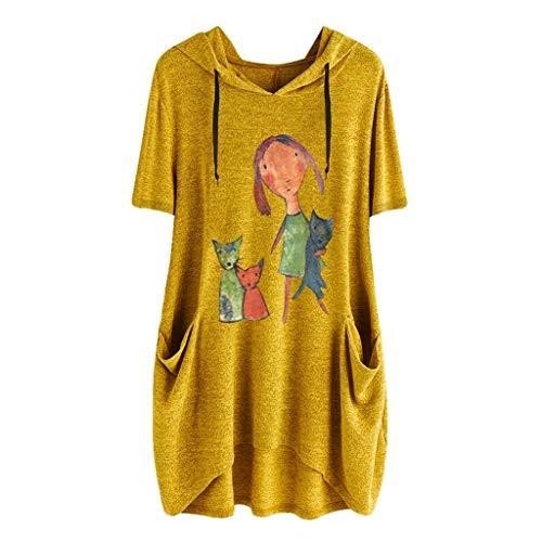 LEXUPE Frauen-beiläufige Druck-Kurze Hülsen-Seitentaschen-mit Kapuze unregelmäßige Spitzenblusen-Hemden (Sexy Bett Krankenschwester Kostüm)
