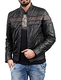 F&H Mens Genuine Cowhide Leather Slim Fit Café Racer Jacket FJ134